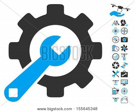 Service Tools icon with bonus uav service pictograph collection. Vector illustration style is flat iconic blue and gray symbols on white background.