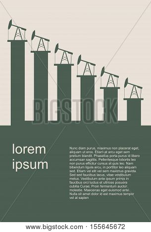 Oil price fall graph illustration. Oil pump icons on down fall chart. Vector illustration. Field for text. Modern vector brochure, report or flyer design template.