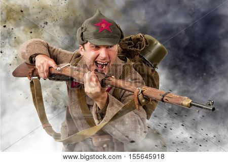 young Soviet soldier ww2 with rifle attack poster