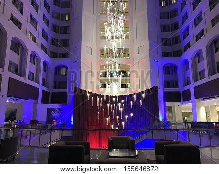 WASHINGTON, D.C. (USA) - November 7, 2016. The Grand Hyatt lobby in Washington D.C. lit up in red, white, and blue two days before the 2016 Elections for President of the United States.