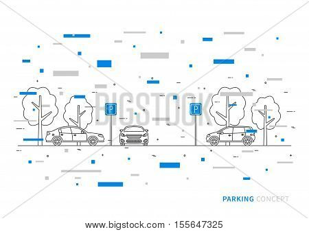 Parking vector illustration with colorful decorative elements. Parking lot creative concept. Parking zone with cars trees and parking road signs graphic design.
