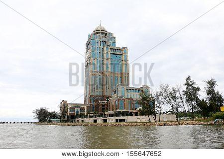 KOTA KINABALU SABAH, MALAYSIA - OCTOBER 29, 2016: Sabah state assembly buiding is a new high rise building next to Menara Tun Mustapha (Sabah Foundation) located in Tanjung Lipat , Likas