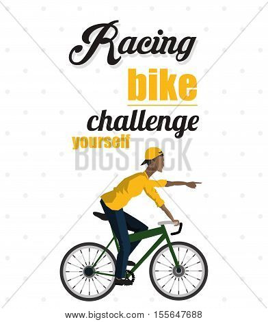 Isolated man riding bike icon. Healthy lifestyle racing ride and sport theme. Vector illustration