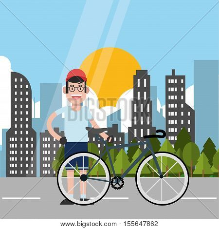 Man riding bike icon. Healthy lifestyle racing ride and sport theme. City background. Vector illustration