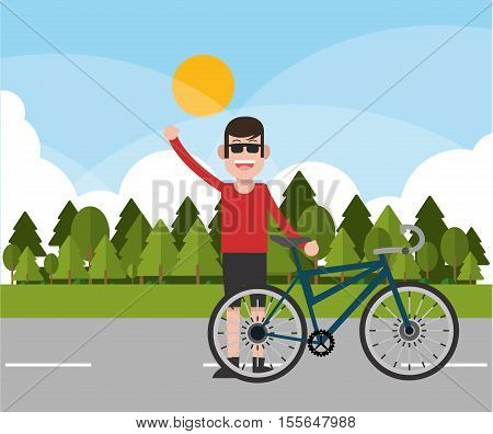 Man riding bike icon. Healthy lifestyle racing ride and sport theme. Pine trees and landscape background. Vector illustration