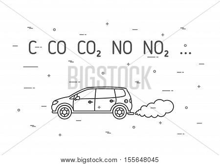 Car exhaust fumes vector illustration. CO2 NO2 emissions line art concept. Carbon dioxide emits smoke pollution graphic design.