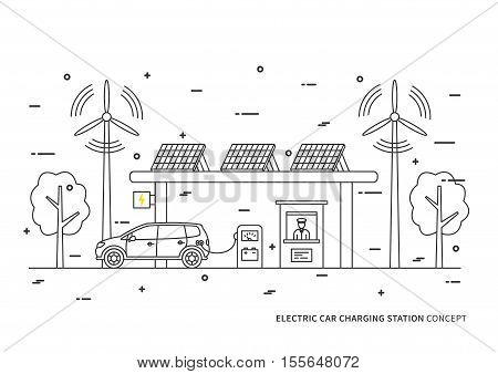Electric car charging station vector illustration. Electric hybrid automobile charging at the eco power station with solar panels and wind turbines concept. Rechargeable energy design.