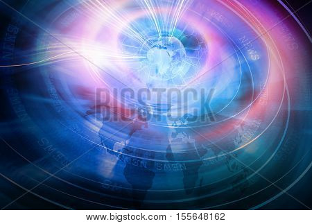 Global Connectivity Background through World Growing Business and connection News Background Technology Communications Digital World Background Transmitting Data by Wires Futuristic Universe Technologies.