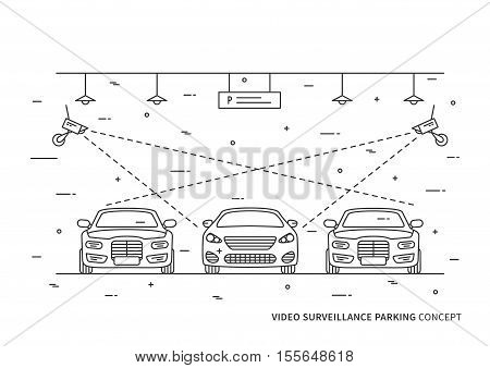 Video surveillance parking vector concept. Security camera in indoor parking lot car creative concept.