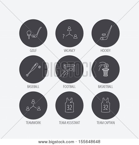 Football, ice hockey and baseball icons. Basketball, team assistant and captain linear signs. Teamwork, vacancy and golf icons. Linear icons in circle buttons. Flat web symbols. Vector