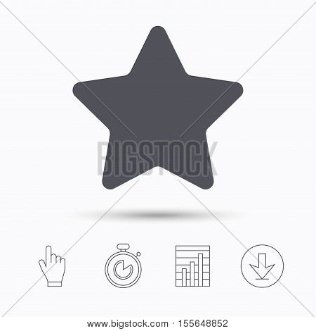Star icon. Favorite or best sign. Web ranking symbol. Stopwatch timer. Hand click, report chart and download arrow. Linear icons. Vector