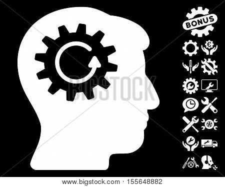 Head Gear Rotation pictograph with bonus service pictograms. Vector illustration style is flat iconic white symbols on black background.