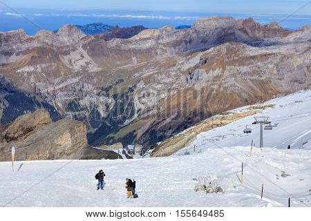 Mt. Titlis, Switzerland - 12 October, 2015: view on the top of the mountain. Titlis (also Mount Titlis) is a mountain of the Uri Alps, located on the border between the cantons of Obwalden and Bern.