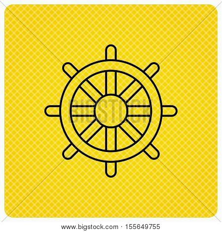 Ship steering wheel icon. Captain rudder sign. Sailing symbol. Linear icon on orange background. Vector
