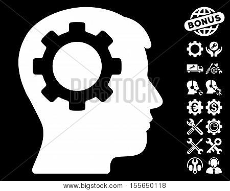 Intellect Gear pictograph with bonus configuration pictures. Vector illustration style is flat iconic white symbols on black background.