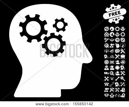 Intellect Gears pictograph with bonus options pictograms. Vector illustration style is flat iconic white symbols on black background.
