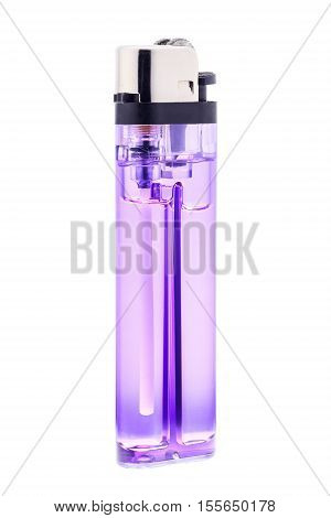 Purple lighter. Lighter isolated on white background with clipping part.