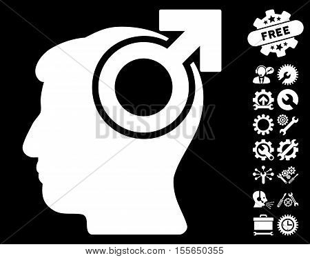 Intellect Potency pictograph with bonus tools pictures. Vector illustration style is flat iconic white symbols on black background.