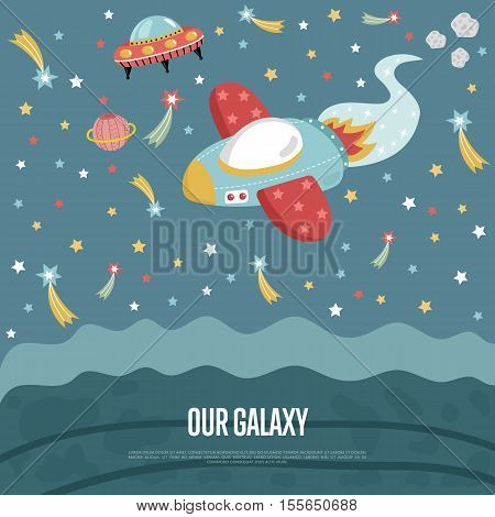 Our galaxy cartoon landing page template. Spaceship flying in outer space with stars, planets, comets, flying saucer vector illustration. For planetarium, astronomical club, childrens cafe web page