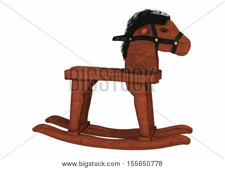 3D Rendering Rocking Horse On White
