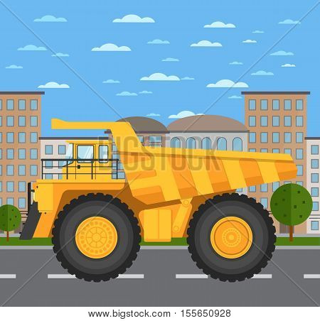 Big yellow mining truck on road in city vector illustration. Urban cityscape background with skyscrapers. Modern dump truck side view. Vehicle for cargo transportation. Mining industry