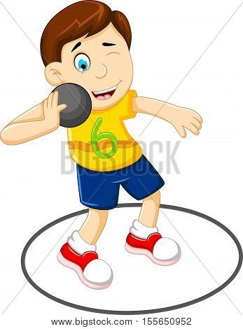 cute Man athlete doing shot put for you design