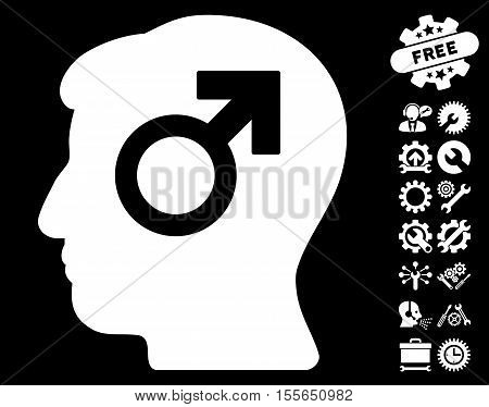 Mind Potency pictograph with bonus tools pictograph collection. Vector illustration style is flat iconic white symbols on black background.