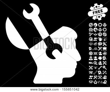 Mind Wrench Tools icon with bonus options pictograph collection. Vector illustration style is flat iconic white symbols on black background.