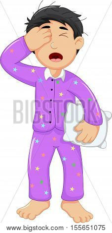 cute boy cartoon sleepy holding pillow for you design