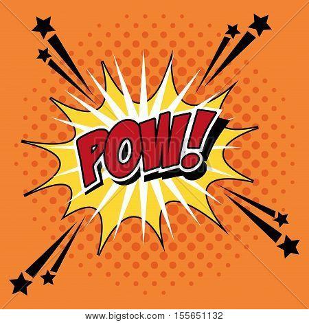 Bubble pop art of pow icon. Comic communication retro and expression theme. Vector illustration