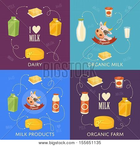 Four dairy banners with different milk products compositions isolated on color background, vector illustrations. I love milk concept. Nutritious and healthy products. Organic cattle farm