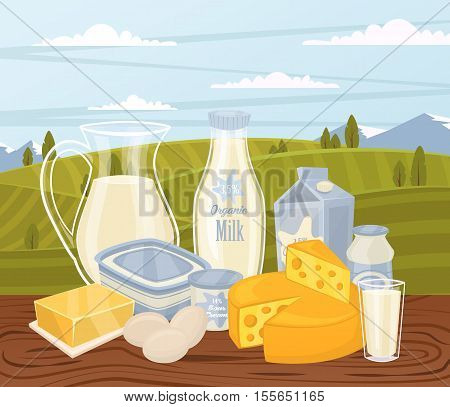Farm products banner with dairy composition on wooden table and background of green rural landscape, vector illustration. Healthy nutritious concept with butter, eggs, milk, yoghurt, cheese, kefir