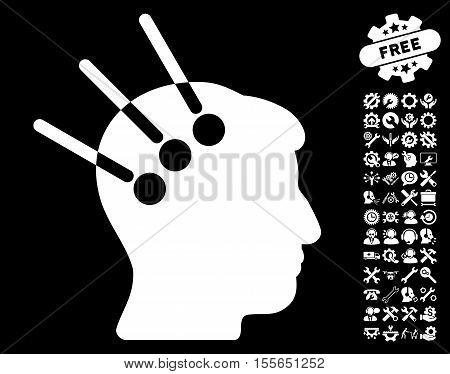 Neural Interface icon with bonus configuration icon set. Vector illustration style is flat iconic white symbols on black background.