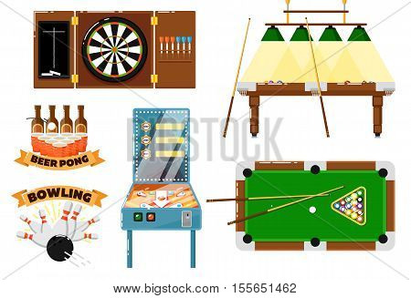 Active leisure and sport game isolated vector icon. Pool, snooker, billiard table with cue, dart and dartboard, bowling pins and ball, beer pong, game machine, pinball. Sport bar game. Sport game symbol. Billiard table, Pool vector. Bowling icon. Pinball