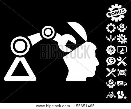 Open Head Surgery Manipulator pictograph with bonus setup tools pictograph collection. Vector illustration style is flat iconic white symbols on black background.