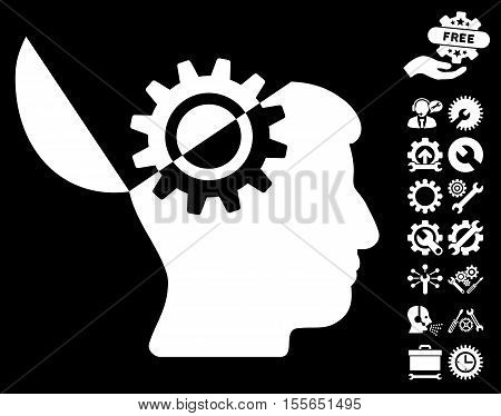 Open Mind Gear icon with bonus service pictures. Vector illustration style is flat iconic white symbols on black background.