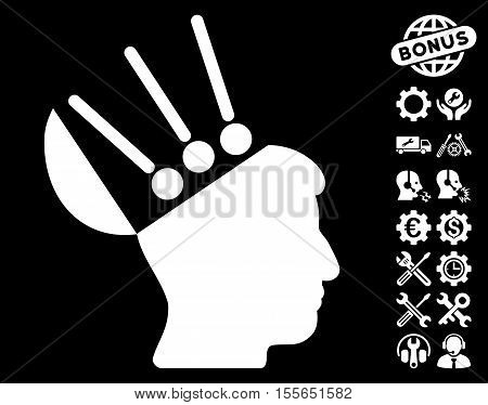 Open Mind Interface pictograph with bonus service images. Vector illustration style is flat iconic white symbols on black background.