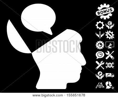 Open Mind Opinion pictograph with bonus settings design elements. Vector illustration style is flat iconic white symbols on black background.