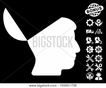 Open Mind icon with bonus configuration symbols. Vector illustration style is flat iconic white symbols on black background.
