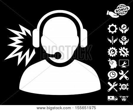 Operator Message pictograph with bonus service icon set. Vector illustration style is flat iconic white symbols on black background.