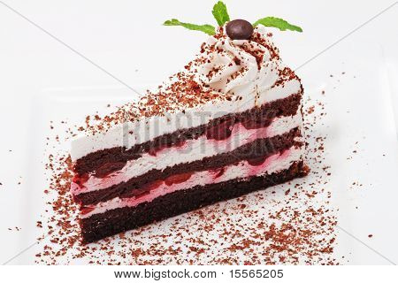 Cake With Cherry And Chocolate
