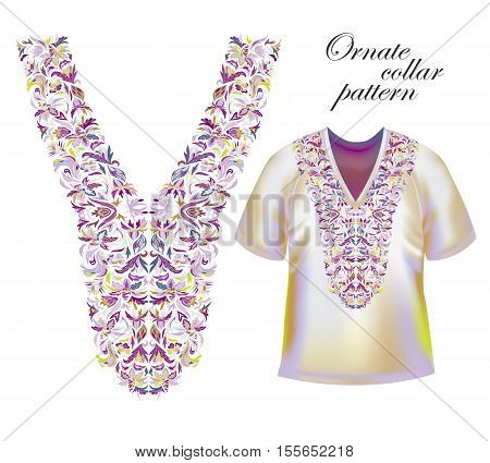 Neckline embroidery. Beautiful fashionable collar embroidered. Stock vector. Violet collars pattern on T-shirt mock up.