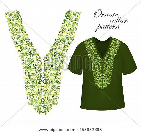 Neckline embroidery. Beautiful fashionable collar embroidered. Stock vector. Yellow green collars pattern on T-shirt mock up.