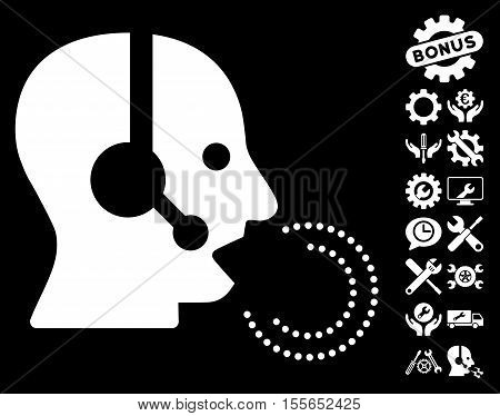 Operator Speech icon with bonus setup tools pictograph collection. Vector illustration style is flat iconic white symbols on black background.