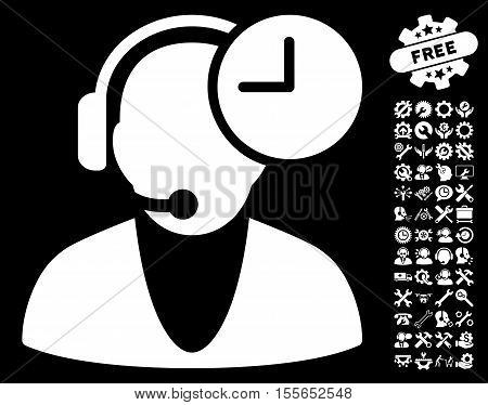 Operator Time icon with bonus configuration clip art. Vector illustration style is flat iconic white symbols on black background.