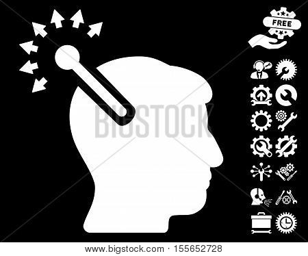Optical Neural Interface pictograph with bonus configuration pictures. Vector illustration style is flat iconic white symbols on black background.