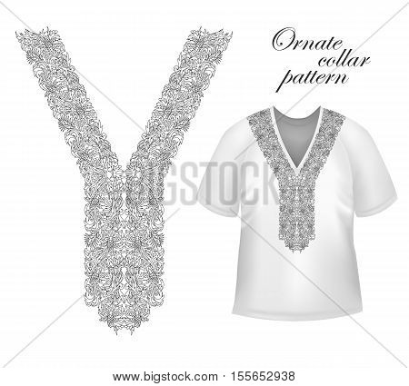 Collar front woman blouse print. Line embroidery. Vector graphic.
