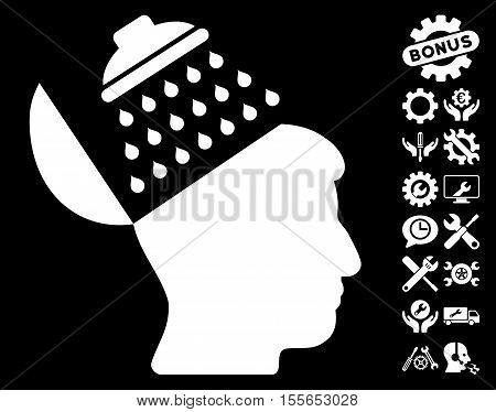 Propaganda Brain Shower icon with bonus tools design elements. Vector illustration style is flat iconic white symbols on black background.