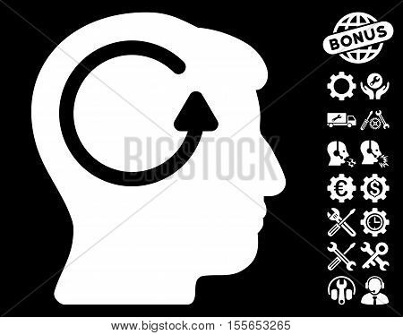 Refresh Head Memory icon with bonus options clip art. Vector illustration style is flat iconic white symbols on black background.