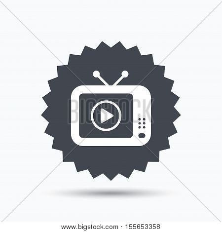 TV icon. Retro television symbol. Gray star button with flat web icon. Vector